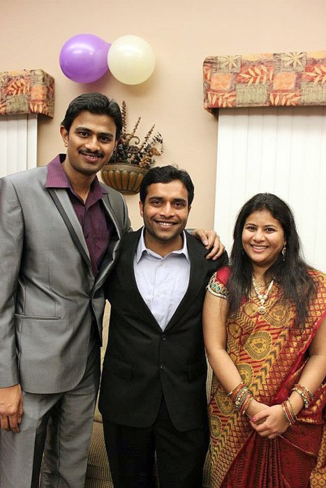 Image: Srinivas Kuchibhotla, left, poses for photo with Alok Madasani and his wife Sunayana Dumala in Cedar Rapids, Iowa.