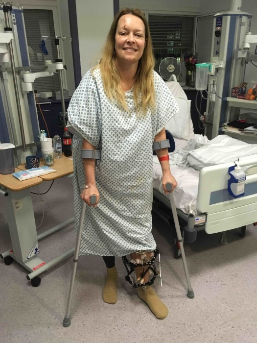 Image: Melissa Cochran stands in a hospital room
