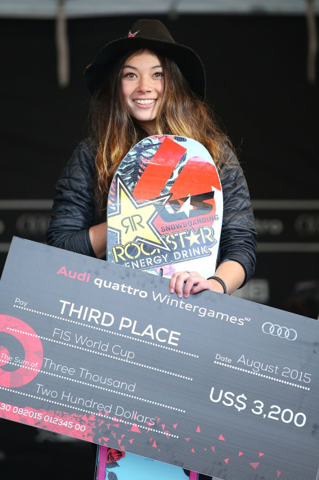 Image: Third place Hailey Langland of the United States poses on the podium during the medal ceremony for the Women's FIS Snowboard World Cup Slopestyle Finals during the Winter Games in Wanaka, New Zealand, Aug. 22, 2015.