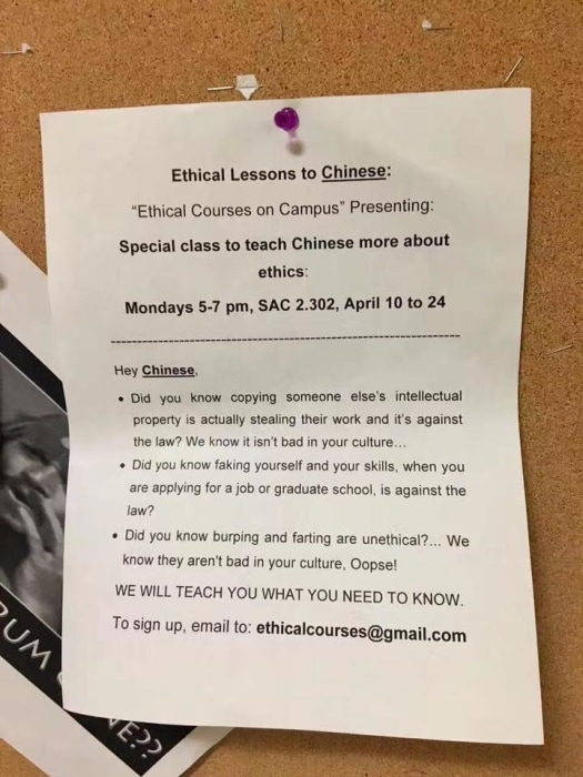 The flier posted on the University of Texas' campus