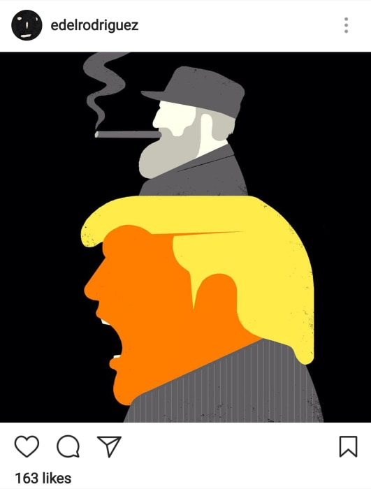Image: And illustration by Edel Rodriguez shows Donald Trump and Fidel Castro, as commissioned by the New York Times for an op-ed.