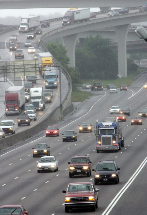 "Image: Traffic moves through the I-85/I-285 interchange, known locally as ""Spaghetti Junction"" in Atlanta on June 1, 2005."