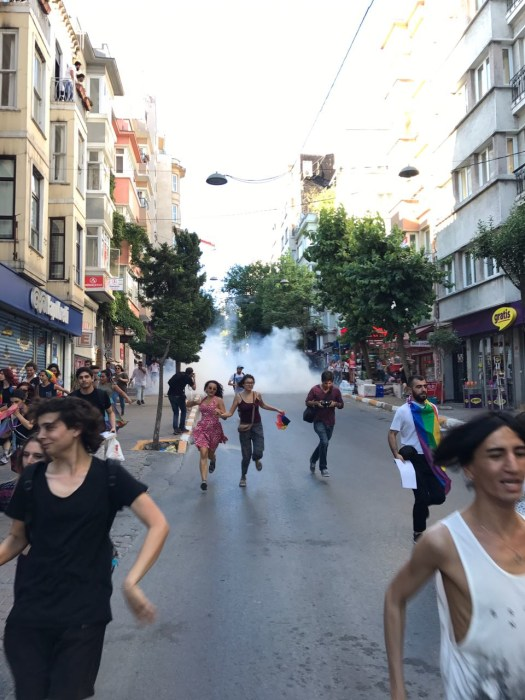 Image: Tear gas is fired at LGBT activists in Istanbul Sunday.