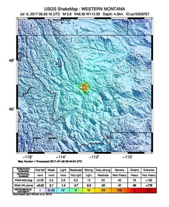 Image: A 5.8 magnitude earthquake strikes Montana