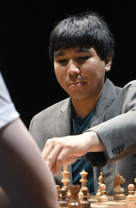 Image: Philippine chess player Wesley So during the first semifinal against Polish Jan-Krzysztof Duda at the 30th Leon Chess Master tournament