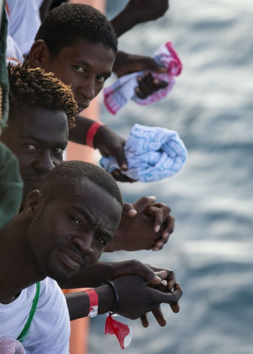 Image: African migrants who were rescued off Libya's coast