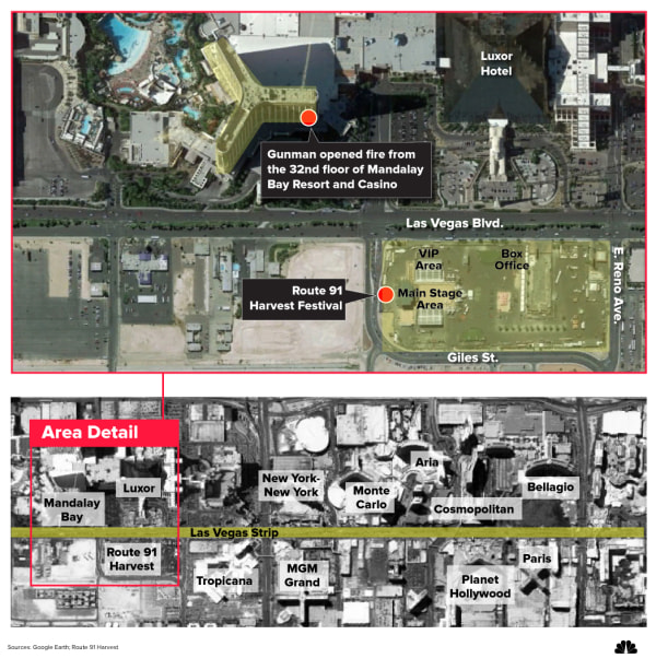 Image: A map shows the area of the shooting in Las Vegas