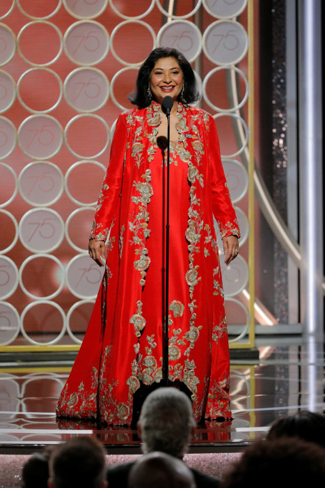 Image: Meher Tatna, HFPA President, speaks at the 75th Golden Globe Awards in Beverly Hills, California