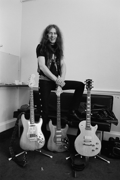 Image: Fast Eddie Clarke, from Motorhead, posed backstage with his guitars at City Hall in Newcastle on March 22, 1982.