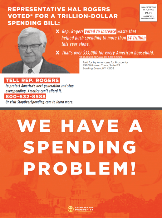 Image: Americans for Prosperity's new anti-spending campaign direct mail