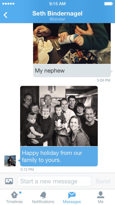 Twitter now lets mobile users send private photos via direct message.
