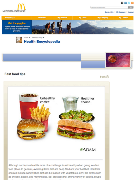 McDonald's employee website tells workers that it's hard to find healthy options at a fast food restaurant.