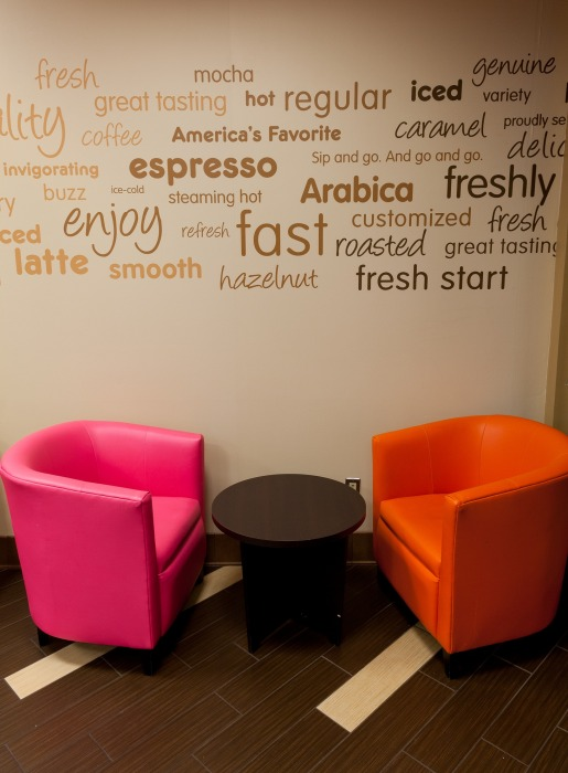 Image provided by Dunkin' Donuts shows the new decor for its coffee shops.
