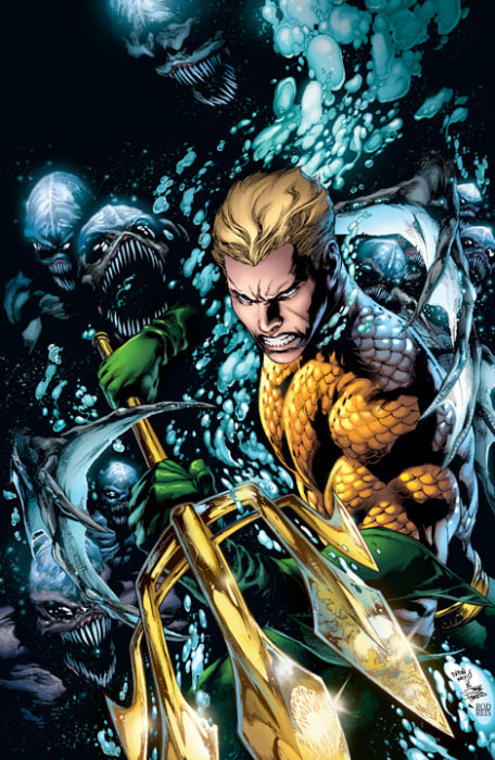 In this comic book image released by DC Comics, Aquaman is shown. Wonder Woman, Firestorm, Captain Atom and Aquaman are among the DC Comics characters...