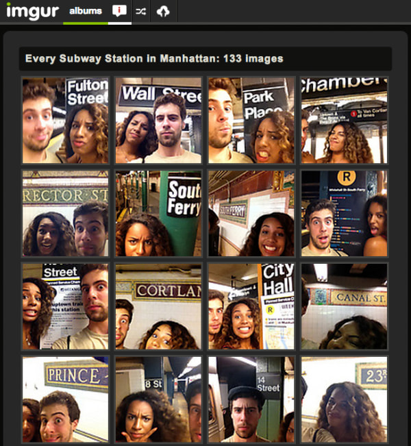 Screen shot of imgur page from couple who shot self-portraits in subway stations. Description on the page reads: Photos at every single Subway Station ...