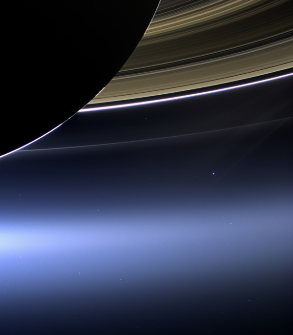 Image: Saturn, Earth and moon