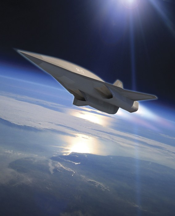 Lockheed Martin's planned SR-72 twin-engine jet aircraft is seen in this artist's rendering
