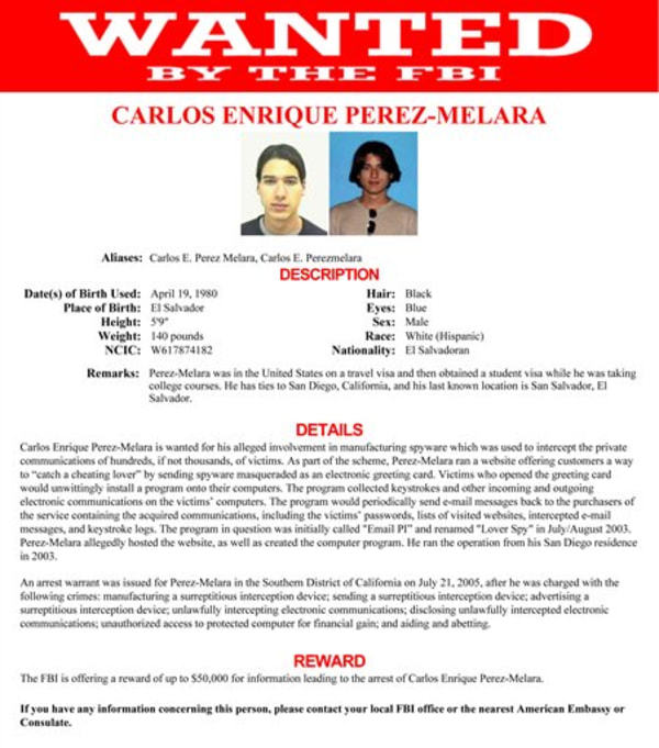 """This image provided by the FBI shows the wanted poster for Carlos Enrique Perez-Melara. Among five individuals added this week to the FBI's list of """"m..."""