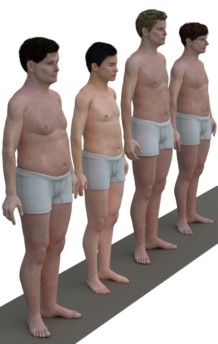 An illustration shows the average body of males from different countries.