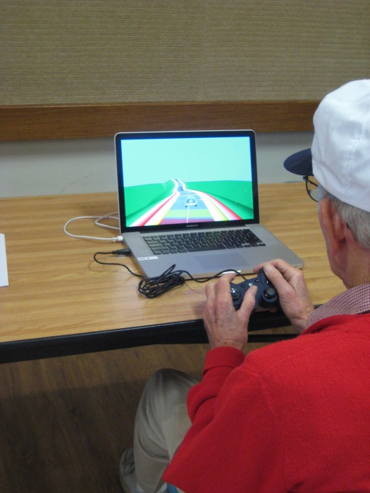 Participant playing NeuroRacer.                    Credit: The Gazzaley Lab/University of California, San Francisco
