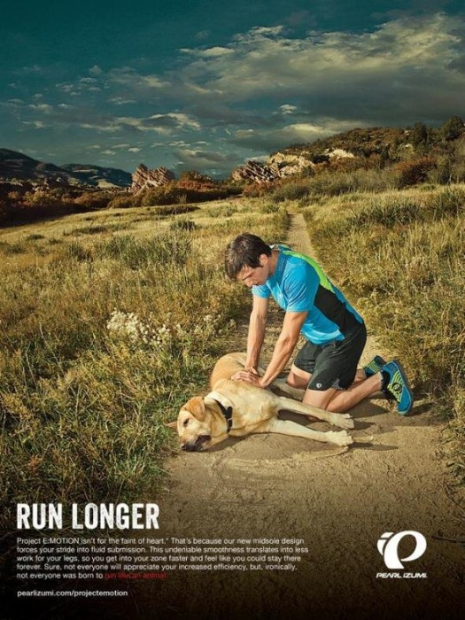 Pearl Izumi has apologized for running an ad campaign that featured an apparently dead dog who collapsed after failing to keep up with his owner.