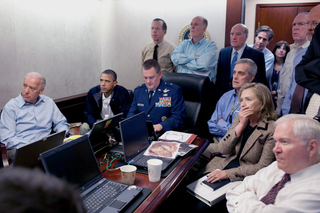 Image: Obama and his staff watch an update on the mission against Osama bin Laden in the Situation Room of the White House