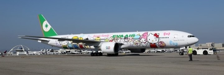 Eva Air's Hello Kitty-themed Boeing 777 arrived at Los Angeles International this week.