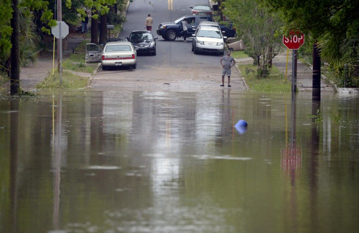 Image: Floodwaters cover Strong Street in Pensacola, Fla.