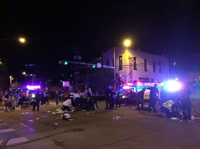 Emergency response after a car hit a crowd outside a club in Austin, Texas.