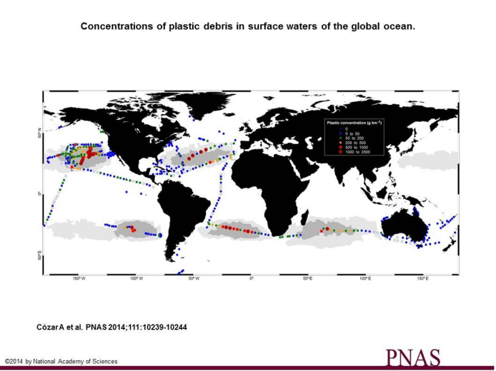 Image:  Andres Cozar Cabanas published a study last July showing where plastic debris has been found in the five gyres