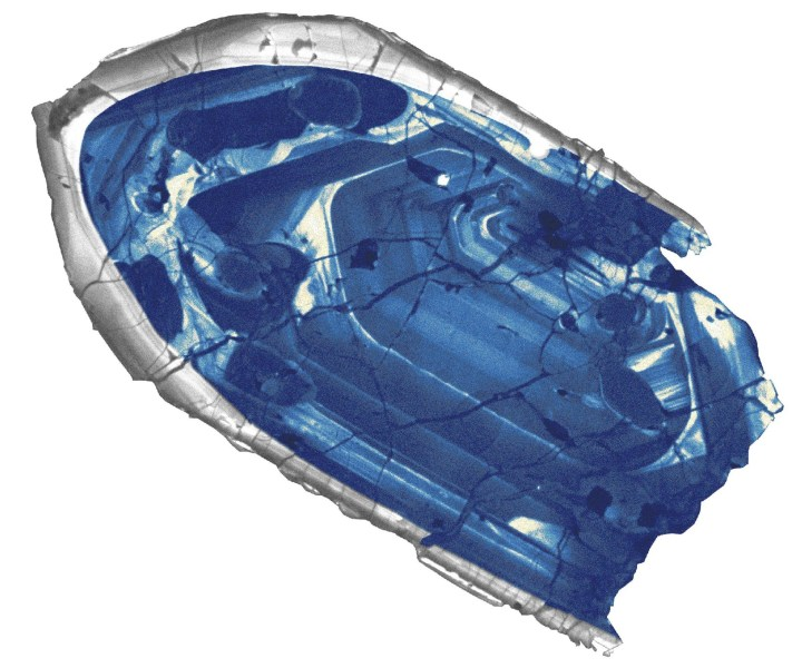 Image: A 4.4 billion-year-old zircon crystal from the Jack Hills region of Australia is pictured in this handout photo