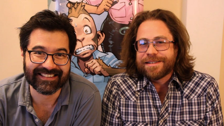 """(L-R) Filmmaker/writer Greg Pak and singer/songwriter Jonathan Coulton, the creators of """"The Princess Who Saved Herself."""""""