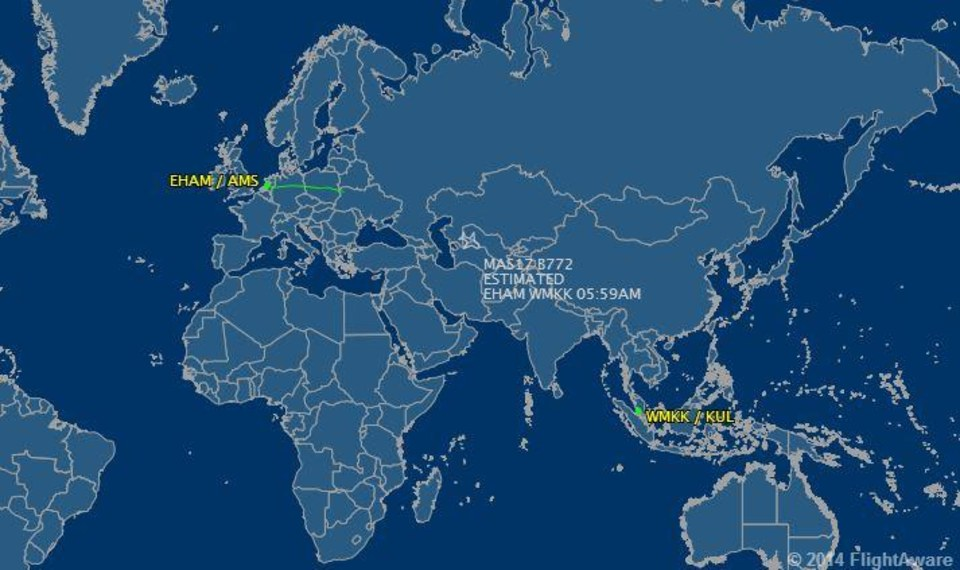 Image: Data from the FlightAware website showed the path of Malaysia Airlines flight MH17.