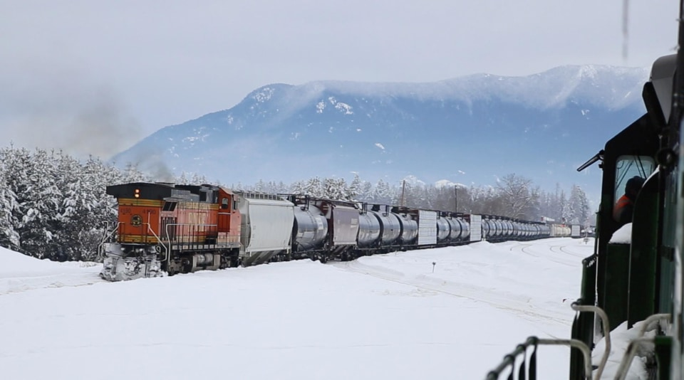 A BNSF oil train heads west through Whitefish, Montana.