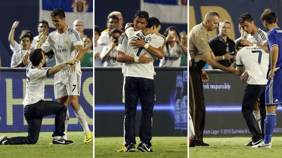 The Cristiano Ronaldo pitch invading hugger says he became a celebrity amongst criminals in jail