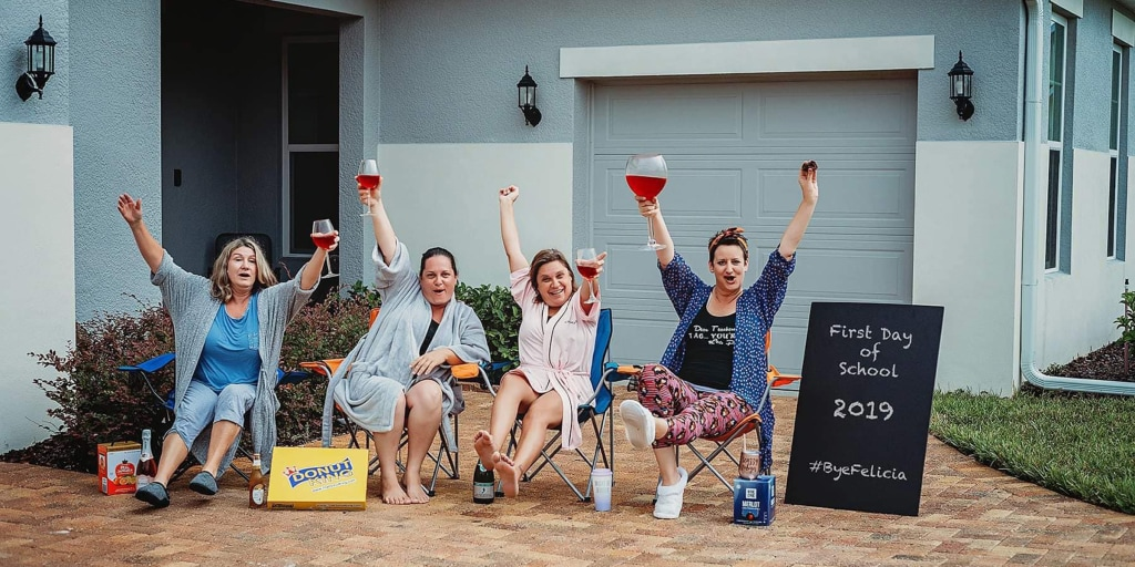 Moms stage funny back-to-school pictures celebrating their joy