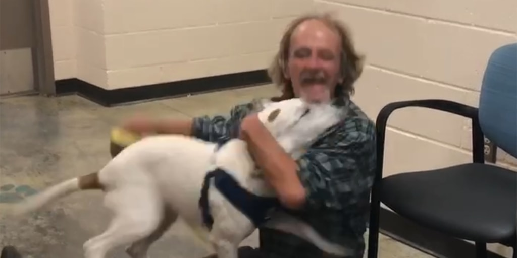 See the heartwarming video of a homeless man reunited with his lost dog