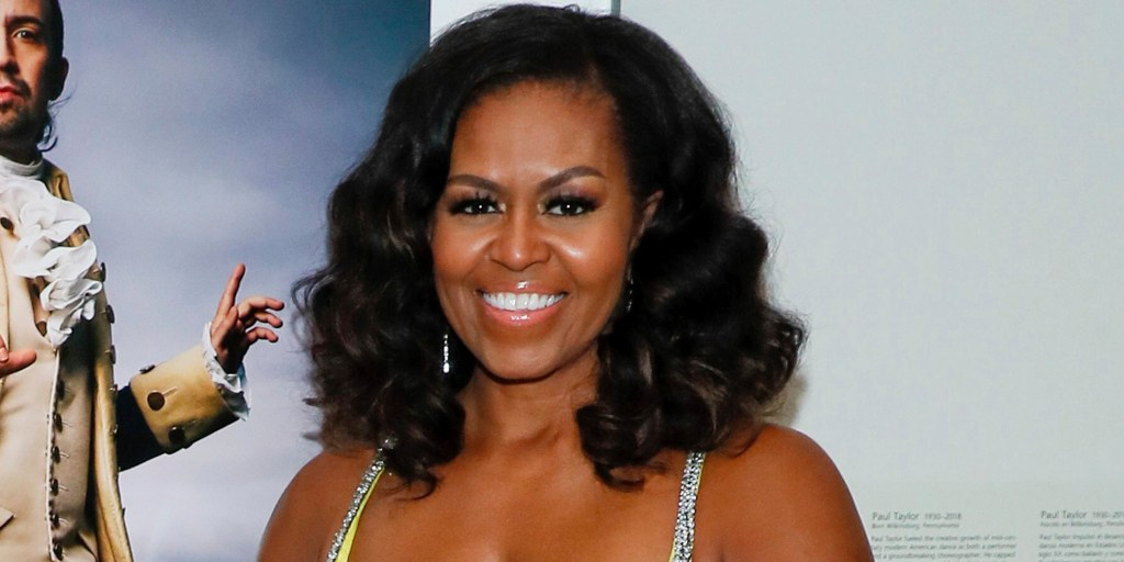 Michelle Obama just rocked a sparkly, yellow corset dress