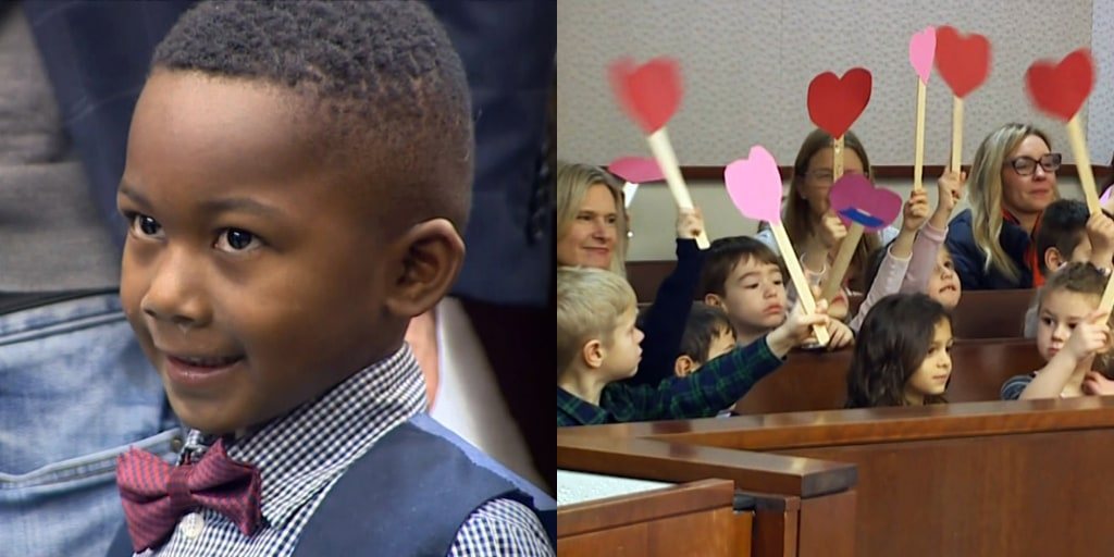 Michigan kindergartner invites his entire class to his adoption hearing