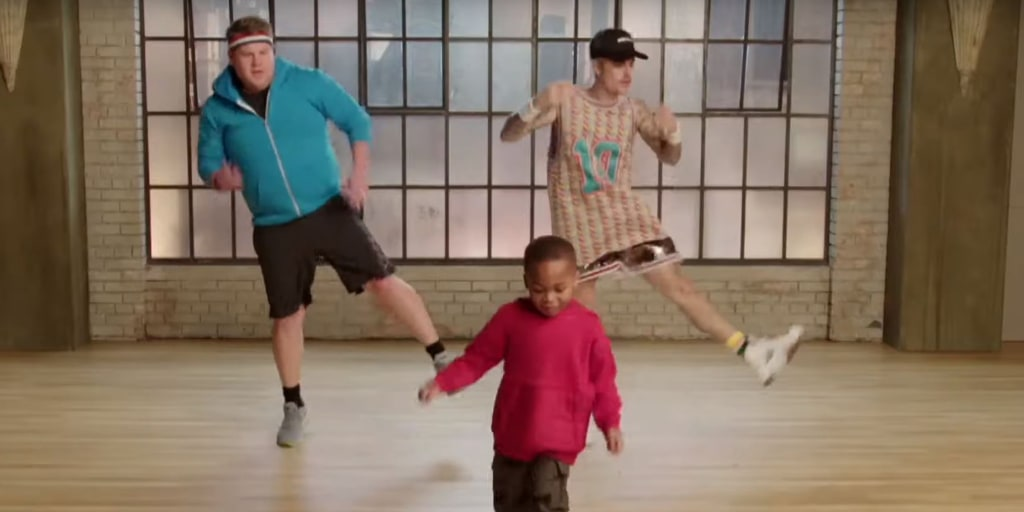 Watch James Corden and Justin Bieber get a hilarious dance lesson from toddlers