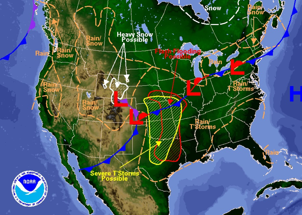 show national weather map Plains States Prepare For Twisters Hail