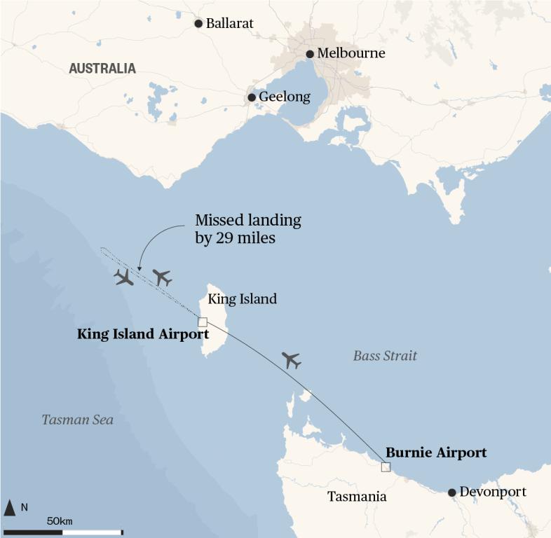 Map Of Australia King Island.Pilot Falls Asleep Midair Misses Australian Island Destination