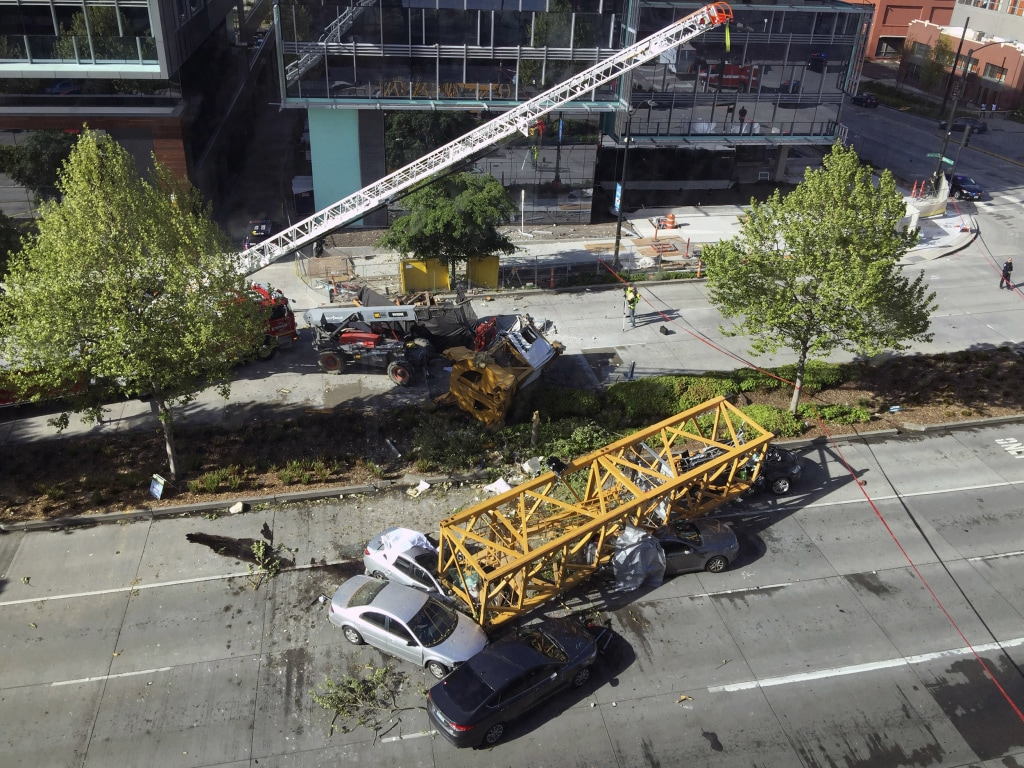 Seattle crane accident video shows it hitting a building