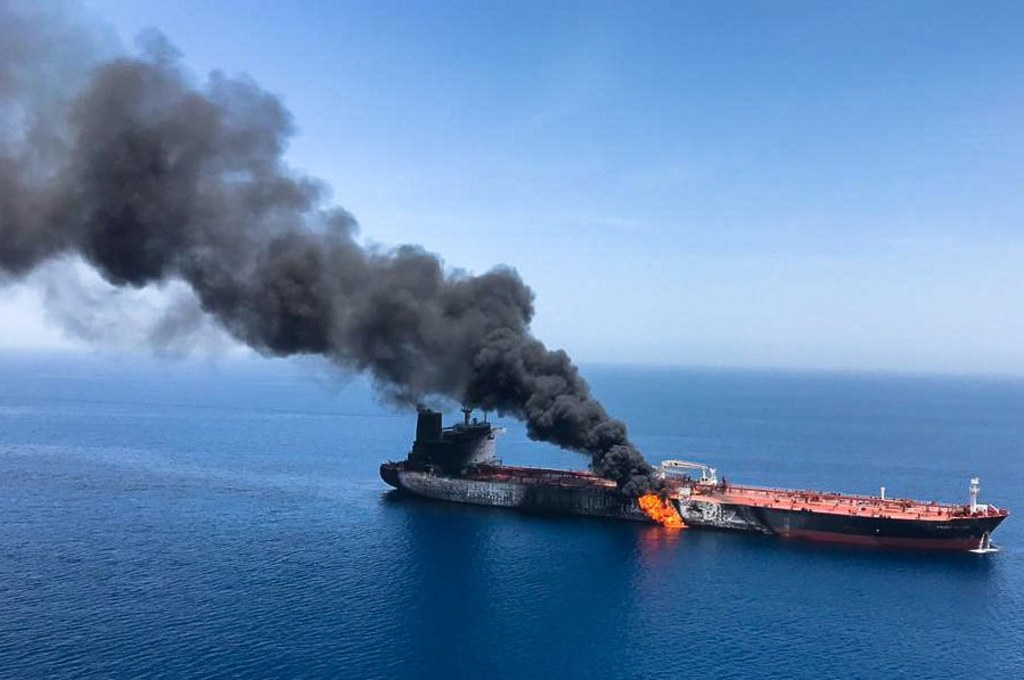 U S  blames Iran for 'blatant assault' on oil tankers in