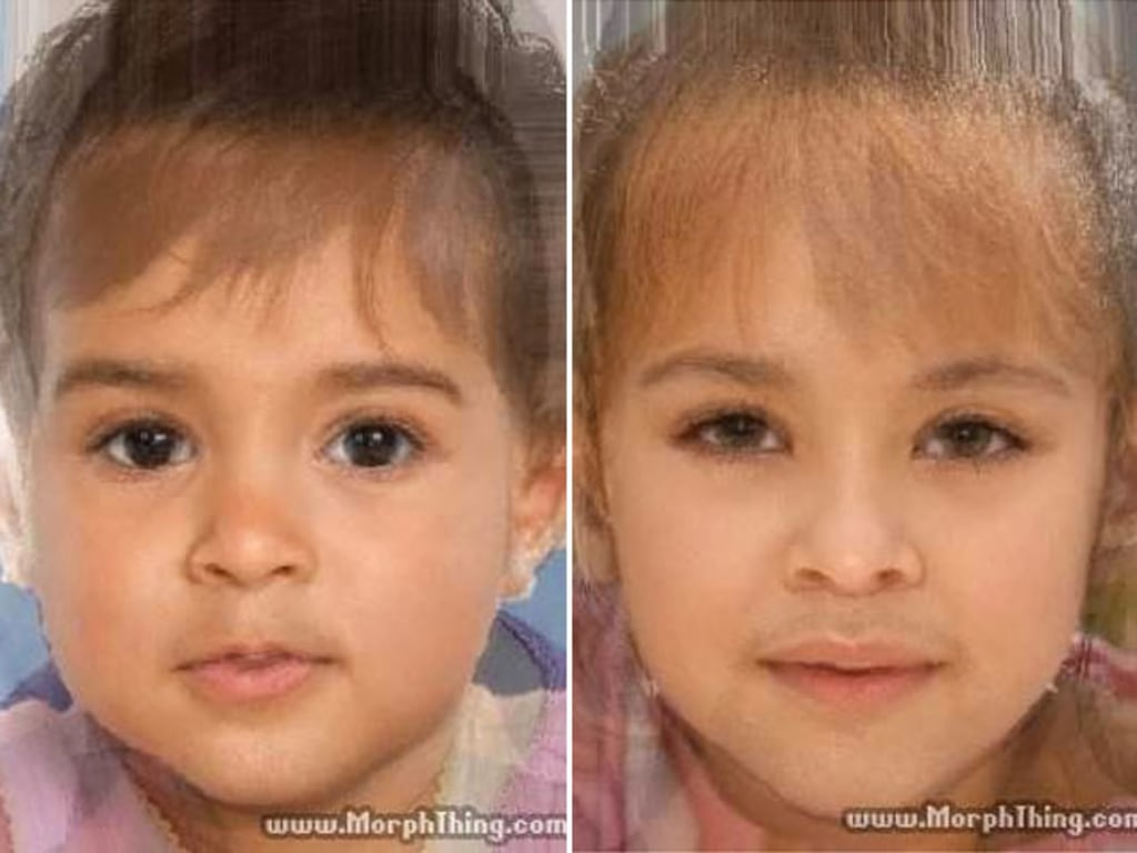 Kim Kardashian and Kanye West Baby Morph Photo