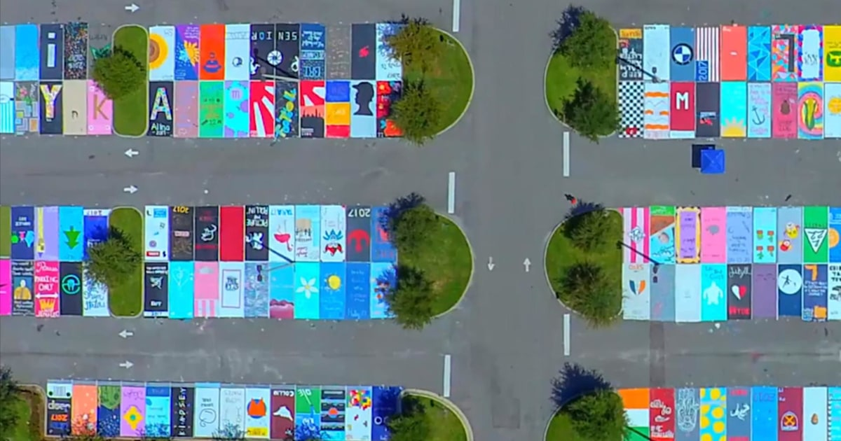 High School Seniors Paint Parking Spaces Into Beautiful Works Of Art