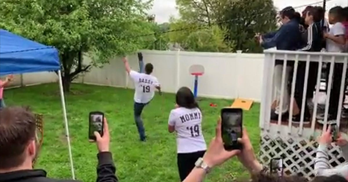 Gender reveal gone wrong: Dad kicks ball into neighbor's yard