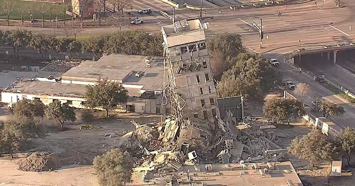 'Leaning tower of Dallas' survives implosion gone wrong