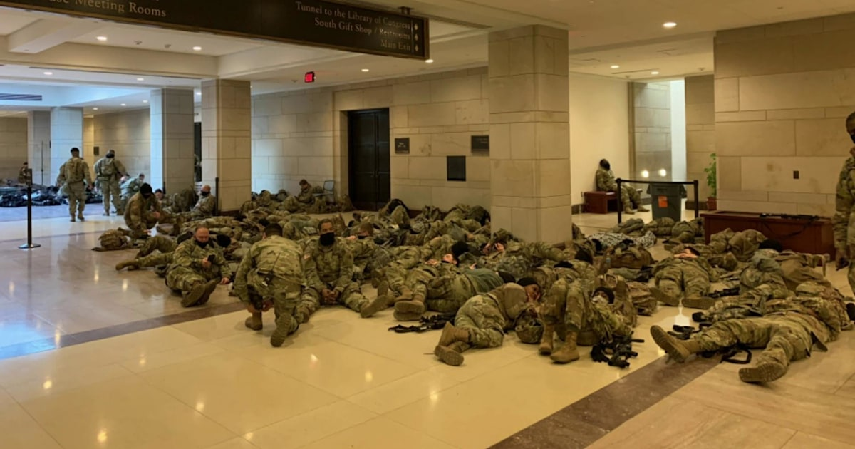 National Guard troops sleep in Capitol building overnight