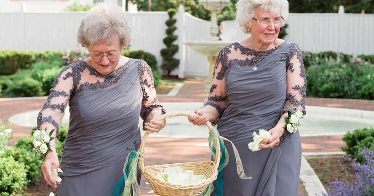 c936122ff634 These adorable grandmothers are flower girls at wedding